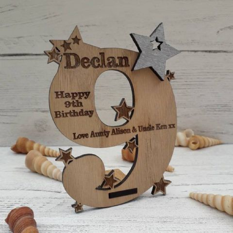 Personalised Ninth 9th Birthday Card Oak Wooden Keepsake Gift